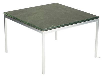 """Green marble and chrome table, poss. Knoll, 30"""" sq"""