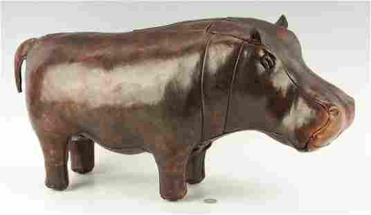 Leather Hippo Foot Stool, Attrib. to Dmitri Omersa
