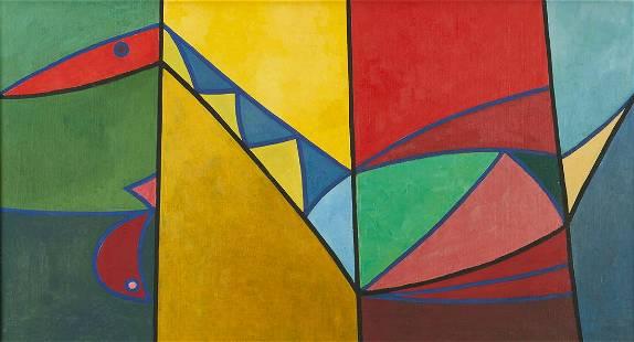 Douglas Denniston Abstract O/C Painting, Bird and Fish