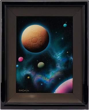 Michael David Ward Reverse Glass Painting, Lunar Gold