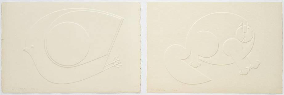 2 Omar Rayo Intaglio Prints, Felino & Dove VIII