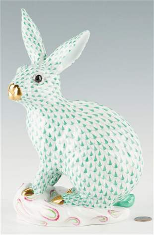Large Herend Green Fishnet Bunny Rabbit, Model 5334