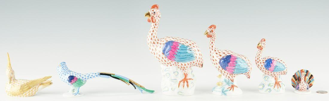 6 Herend Porcelain Bird Figurines