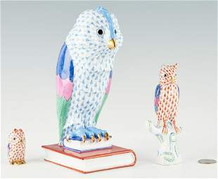 Group of 3 Herend Owl Figurines
