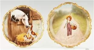 2 Blakeman & Henderson, Limoges Porcelain Chargers