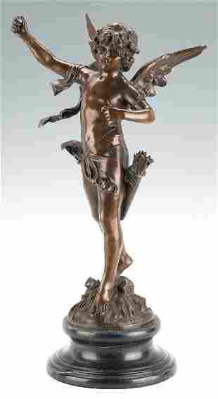 After Auguste Moreau Bronze Cherub Sculpture