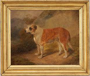Continental School O/C, Painting of a Dog