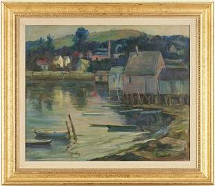Elizabeth M. Lobingier O/C Marine Painting, Harbor