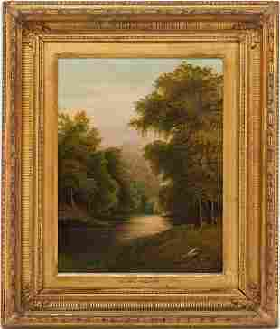 English School O/C Landscape Painting, Peaceful River