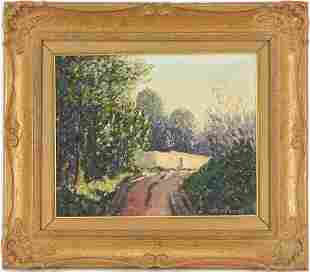 Norman Lloyd O/C Landscape Painting, Country Road
