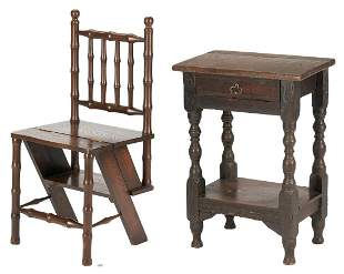 Early Oak One Drawer Table plus Convertible Library