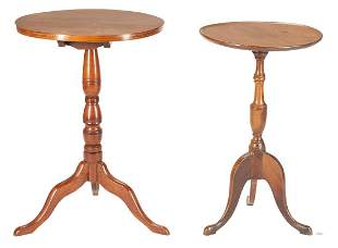 2 Walnut Candle Stands, Southern & Mid-Atlantic