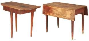 Primitive Console Table & Signed Dropleaf Pembroke