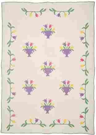 Tulip Basket Pattern Quilt, Anne Orr Studio Design