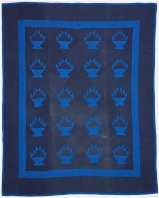 """Amish Basket or """"Hands"""" Quilt, blue"""