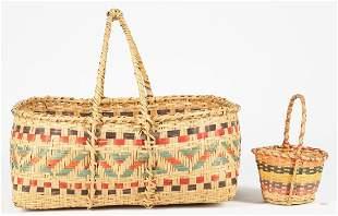 2 Native American Choctaw Rivercane Baskets