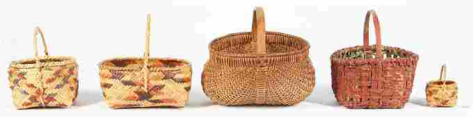5 Baskets, Southern & Choctaw Baskets, incl. miniature