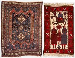 Afghani Tribal Figural Rug & Persian Tribal Afshar, 2