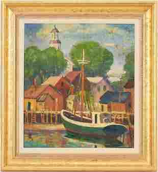 Marston Hodgin O/C Marine Painting, Provincetown