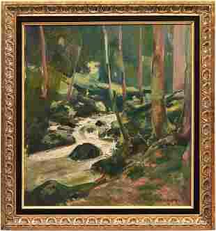 Frank Barney O/C Painting, Waterfall Scene