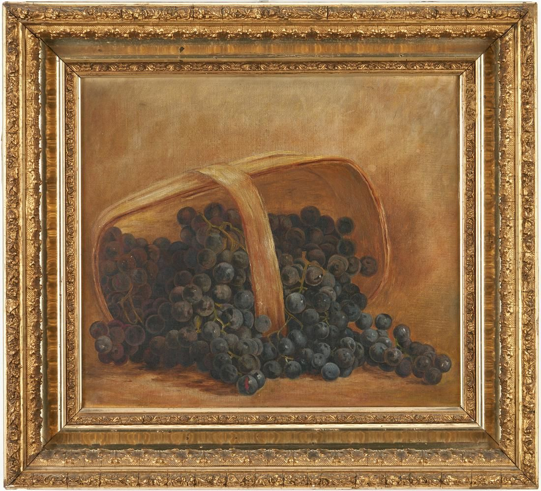 American School O/C Still Life, Basket of Grapes
