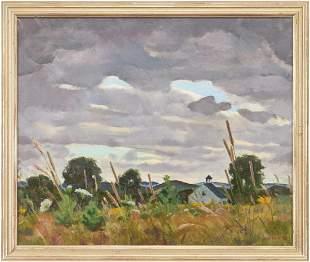 Gene Klebe O/C Landscape, Field Beneath a Stormy Sky