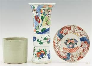 3 Pieces of Chinese Porcelain: Vase, Celadon Pot, &