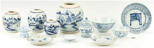 12 Pcs. Chinese Blue and White Porcelain, incl. Ginger