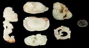6 Chinese Carved Jade Items