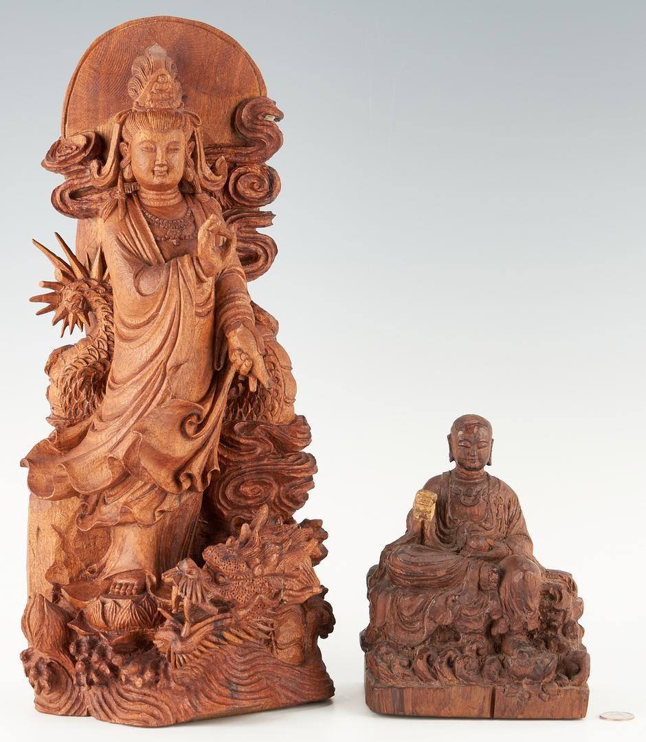 2 Asian Carved Wood Figures, Guanyin & Buddha