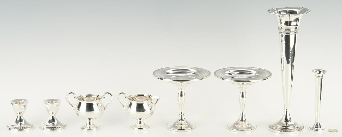 8 Pcs. Sterling Silver Hollowware, Weighted Bases