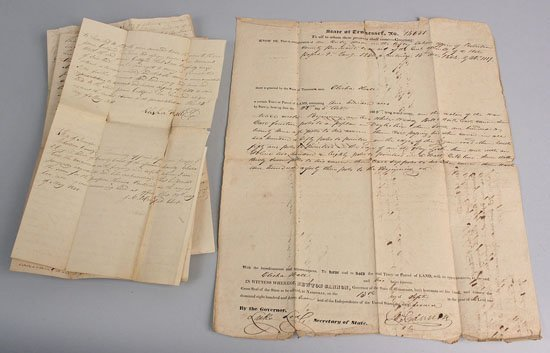 10: TN governor Newton Cannon signed document & related