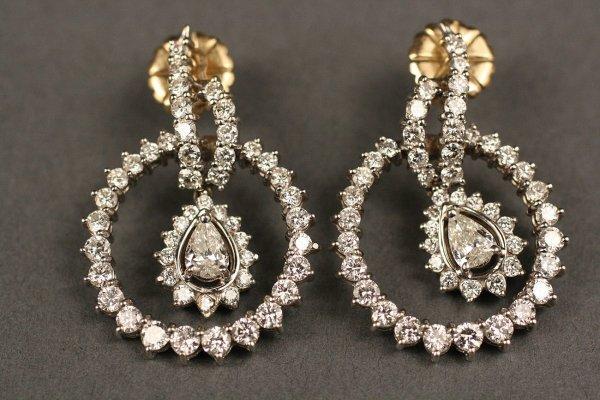 145: Pair 14K White Gold & Diamond Drop Earrings