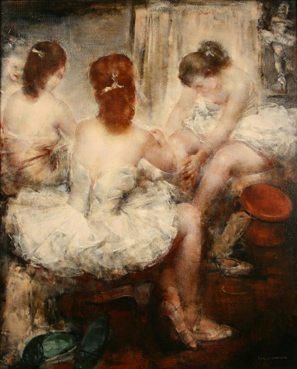 "203: Grigory Gluckmann oil on panel, ""Dressing Room"""
