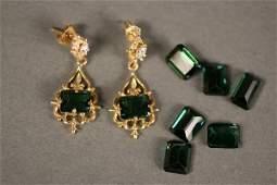 309 14K Yellow Gold Green Tourmaline Earrings  Stones