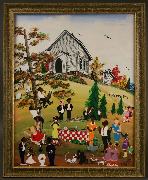 332: Maurice Cook folk art painting, Birthday Party