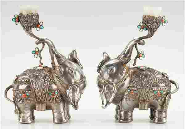 Pair of Chinese or Tibetan Silver Elephant