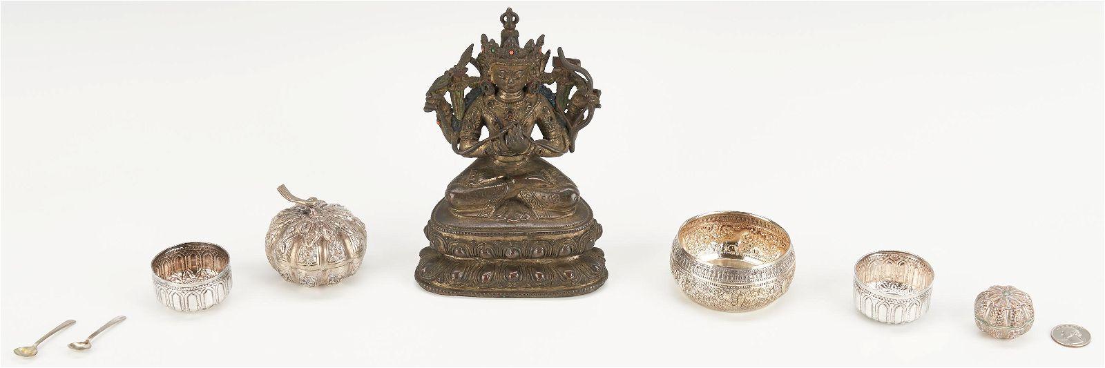 8 Asian Items, Incl. Bronze Buddha & Burmese Silver