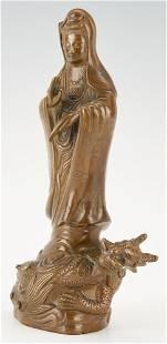 Inlaid Chinese Bronze Guanyin