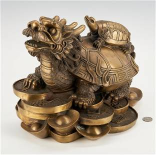 Chinese Bronze Bixi or Turtle Dragon