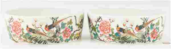 """Pair of Chinese Famille Rose Porcelain """"Narcissus"""""""