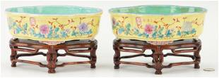 Pair Chinese Yellow Ground Dishes and Stands