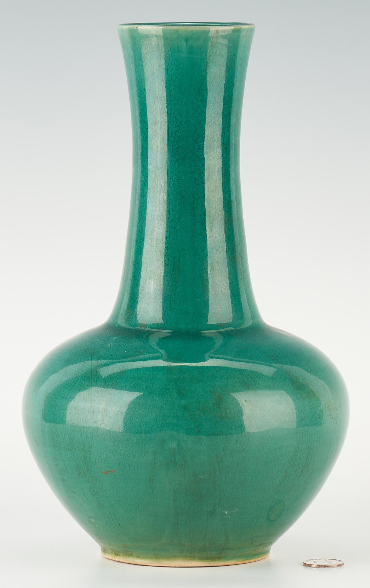 Chinese Monochrome Green Porcelain Bottle Vase