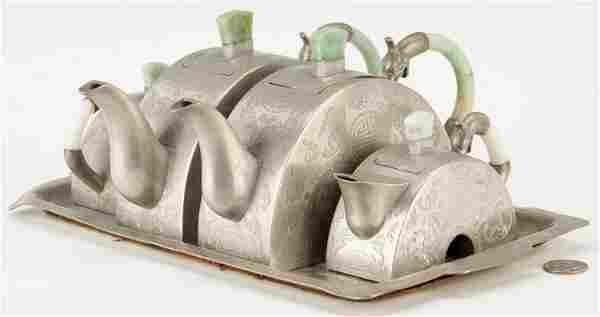Chinese Paktong or Pewter Tea Set w/ Jade Handles
