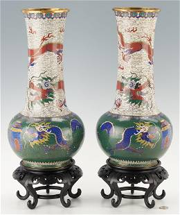 Large Pair of Chinese Cloissone Dragon Urns