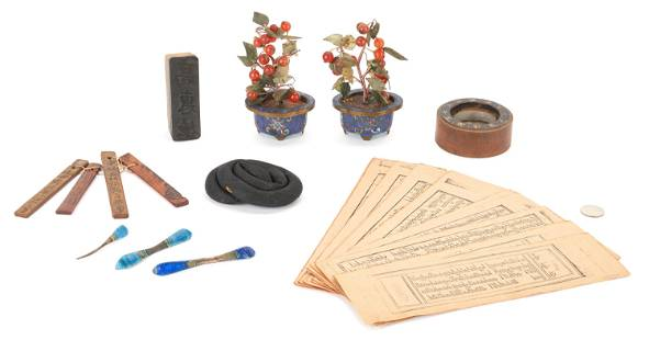 10 Asian Assorted Items, Incl. Hardstone Trees and