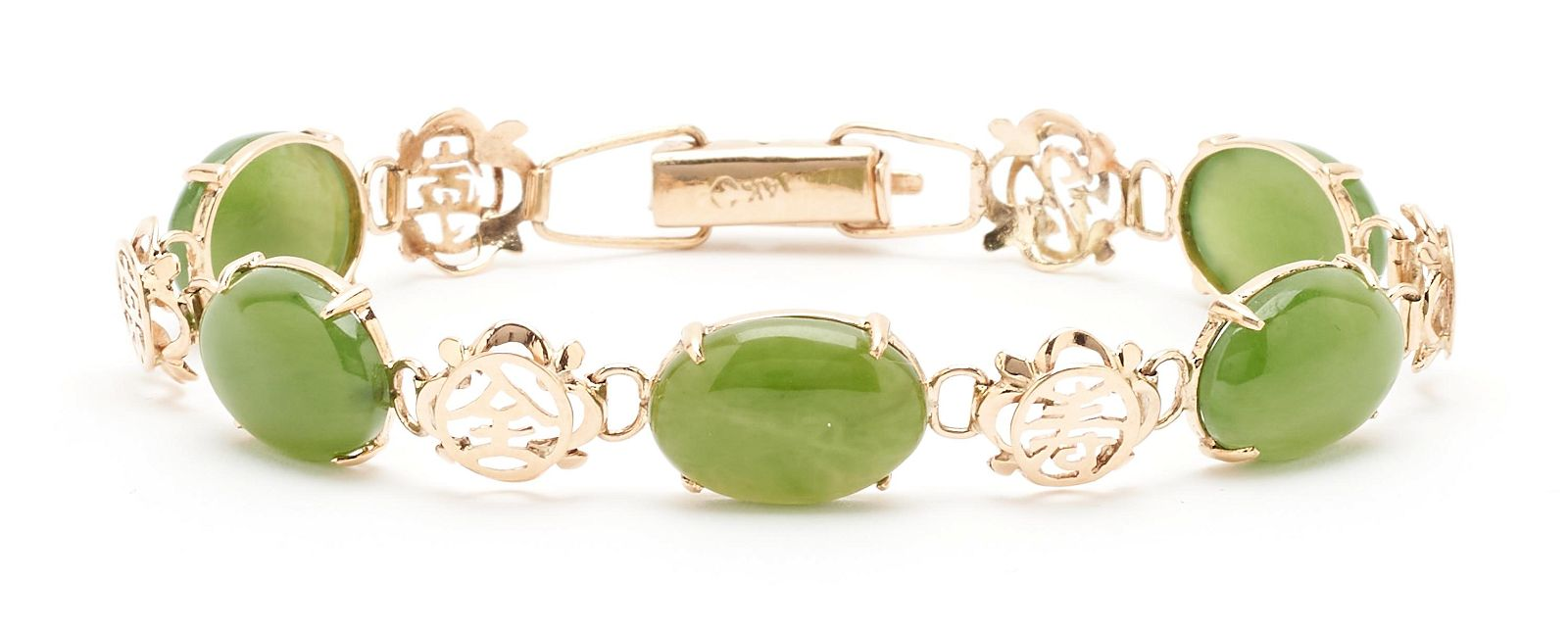 Ladies 14K & Jade Link Bracelet