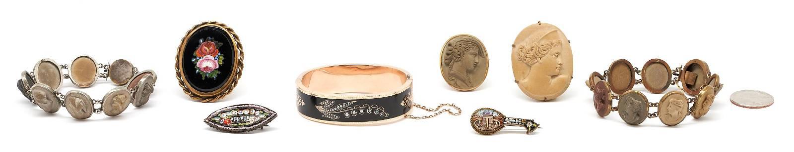 14K Enameled Bracelet, 4 Basalt Cameo and 3 Micro