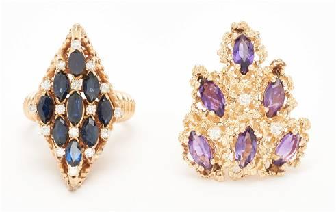 2 Ladies Designer Rings: 18K w/ Sapphires & Diamonds