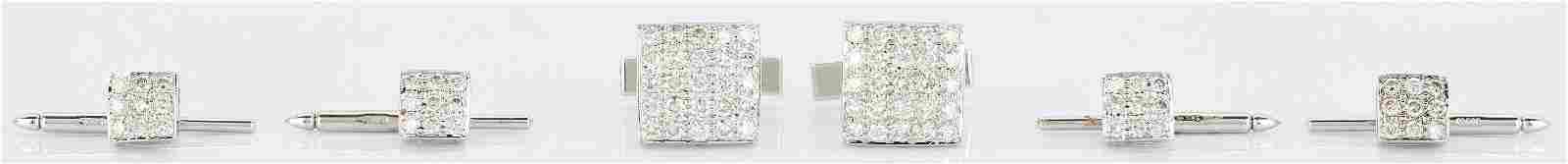 14K Gold and Diamond Tuxedo Set